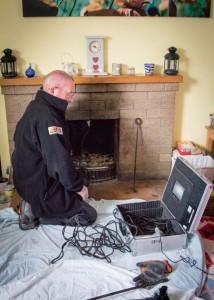 Investigating blockage with chimney camera